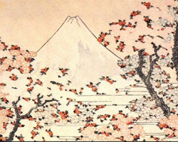 Mount Fuji Through Cherry Trees (Hokusai)